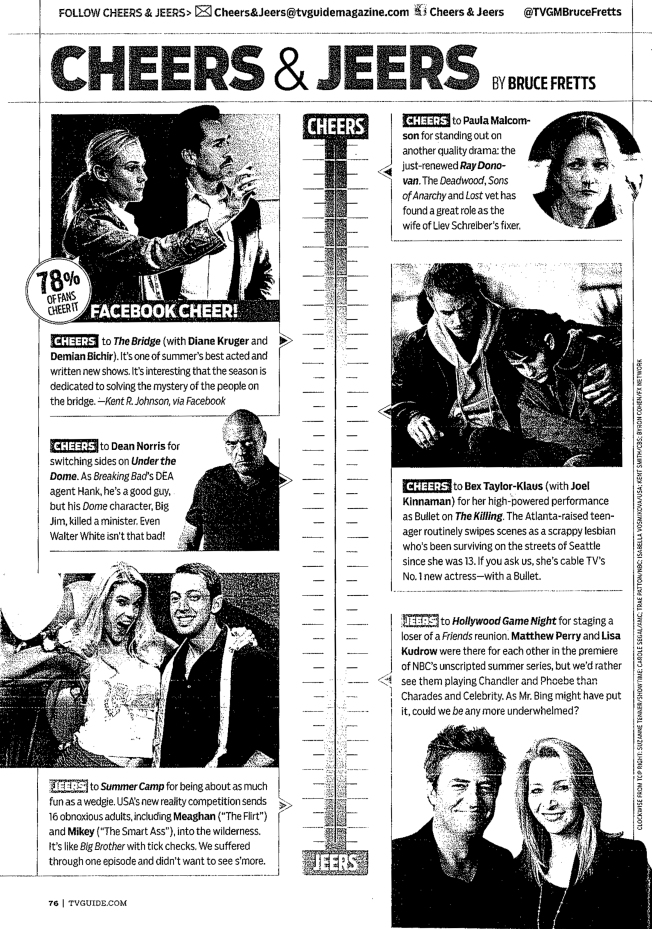 TV Guide - Cheers & Jeers - July 2013