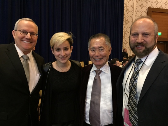 Philip David Morton with Bex Taylor-Klaus, George Takei and Brad Altman at the 2015 Human Rights Campaign Los Angeles Gala. Photo credit: Vince Bucci and Philip Morton